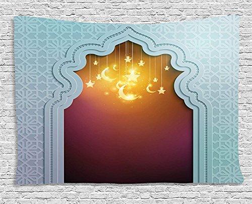 g Überwurf Wandteppich, marokkanisches Zuhause für Büro Kitchen Schlafzimmer Wohnzimmer-Dekoration, Pale Blue Maroon Apricot, 51.2x59inch ()