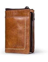 Modesty Cartera marrón de piel para hombre, tarjeta de crédito, efectivo y monedas (Marrón)-QB011-BR