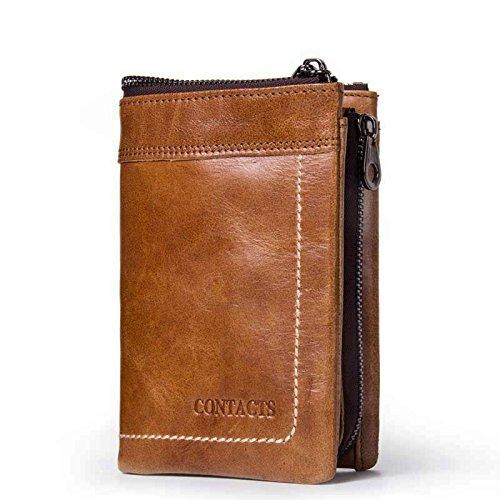 Modesty-Portafoglio uomo vera pelle di vacchetta con carta di credito titolare Zip borsa regalo inscatolato (marrone)-QB011-BR
