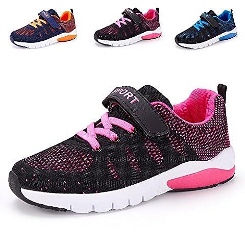 Chaussure de Course Sport Walking Shoes Running Compétition Entraînement Chaussure à la Mode , Sneakers Basket Chaussure Scolaire l'école pour Garçon et Fille Enfant (34 EU, Rose)