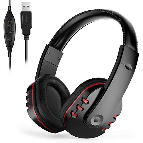 YOUGHALAGG PC Gaming Headset mit Mikrofon, Surround-Stereo-Sound USB-Computer Kabel-Kopfhörer, leicht zugänglichen Tastenbedienelemente, rotierenden Ohrmuscheln, Leder Sport Performance -