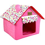 JEELINBORE Pet House Igloo Bed Detachable Foldable Cosy Dog Kennel (Pink, 40 * 40 * 49cm)
