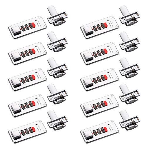 TSSS 10 Set di serratura a combinazione a 3 cifre, lucchetto di sicurezza con codice numerico, fai da te, per bagagli, valigie da viaggio, scatola in plastica, armadi in legno