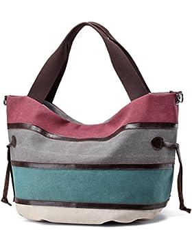 85f49accbf549 Damen handtasche Umhängetasche TEAMEN Canvas Tasche Shopper Schultertasche  Henkeltasche für Einkaufen Reisen Arbeit.
