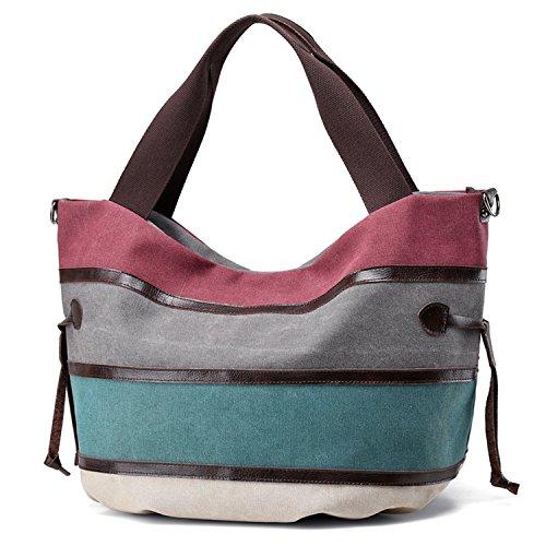 Damen handtasche Umhängetasche TEAMEN Canvas Tasche Shopper Schultertasche Henkeltasche für Einkaufen Reisen Arbeit und Schule (lila) (Lila Shopper)