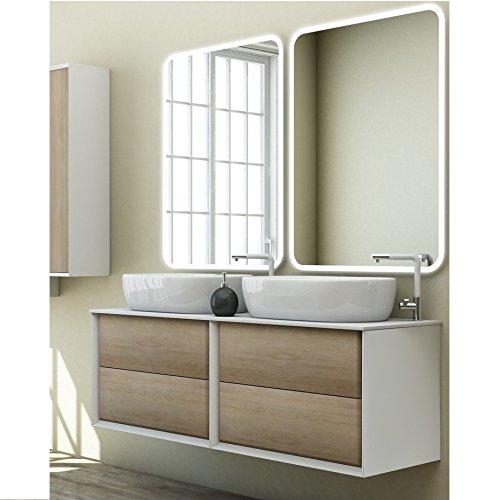 Mobile arredo bagno moderno bellagio doppio lavabo d'appoggio 140x46 sospeso mobili