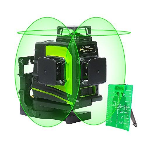 Huepar GF360G Nivel láser 3D autonivelante verde 3x360 Línea cruzada 45m Herramienta niveladora y niveladora de tres planos - Dos líneas verticales 360 ° y una línea horizontal 360 °
