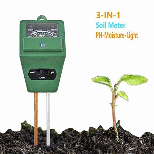 Preisvergleich Produktbild Erde Tester,-in Erde Tester Feuchtigkeit Meter, Licht und pH Säure Tester, Garten Soil Tester, ideal für den Garten, Bauernhof, Rasen, Indoor & Outdoor, keine Batterien erforderlich, leicht Lesen Indikator, genaue Prob