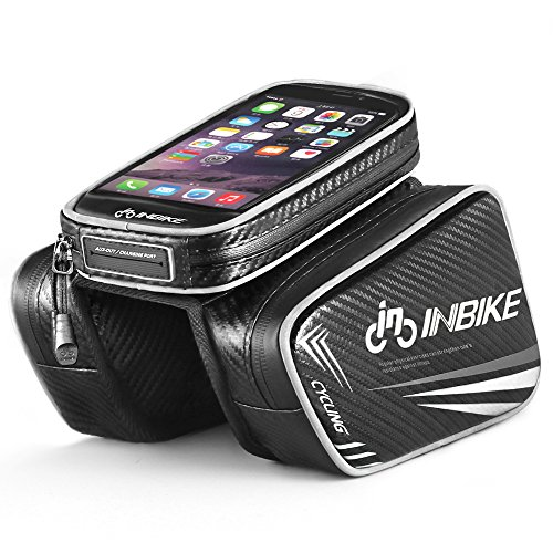 Inbike Borse Ciclismo Bici Sacchetto MTB del Tubo Telaio Frontale Supporto del Telefono con Touch Screen(Nero,6.2