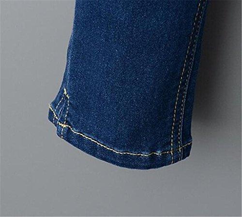 Wgwioo Jeans Skinny Pants En Détresse Déchiré Pocket Slim Classique Bouton Longue Lâche De Couleur Unie Casual Femmes deep blue