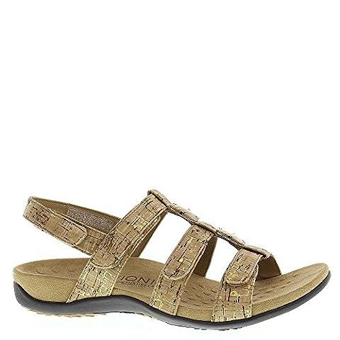 Vionic Womens 44 Amber Rest Gold Cork Cork Sandals 42 EU (Bead Trim Top)