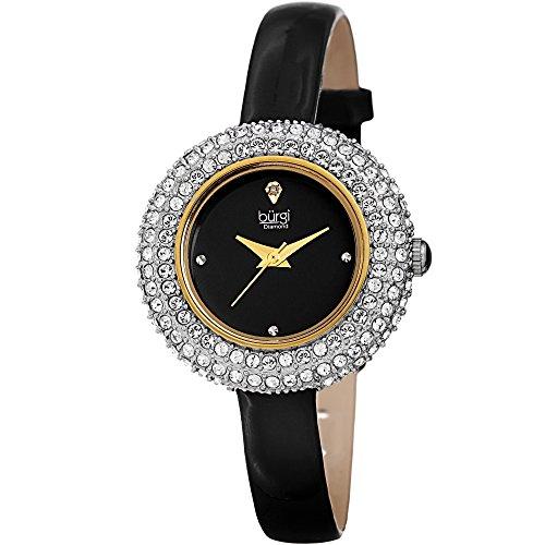 Burgi Femme Bur195bk Cristal Swarovski et Accents de Diamant Jaune doré et Bracelet Cuir Noir Watch