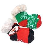 2 Paar Baby Hütten Socken Kinder Home Socks mit Teddyfutter Kuschelsocken Lammfellimitat ABS-Sohle (5554, 12-24 M, Set 1)
