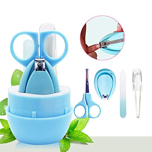 Baby Pflege Kit, auoker 4 in1 Sicherheit Baby Nagelknipser Set enthält Nail Clipper, Sicherheit Schere, Nasale Pinzette und Nagelfeile für Neugeborene, Baby, Infant, Kleinkinder und Kinder
