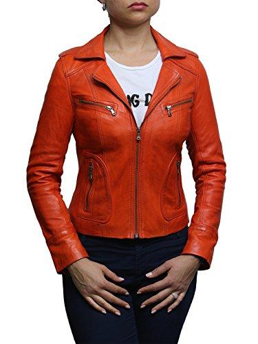 Brandslock Weinlese Damen Frauen wirklicher lederner klassischer Radfahrer-Jacken-Entwerfer-Blick (S/8, Orange)