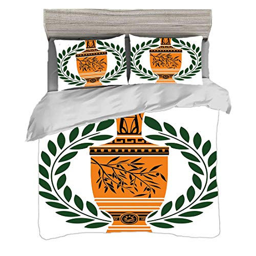 Bettwäscheset (200 x 200 cm) mit 2 Kissenbezügen Toga Party Digitaldruck Bettwäsche Antike griechische Vase mit Olivenzweigmotiv und Lorbeerkranz,mehrfarbig, Pflegeleicht antiallergisch weich glatt