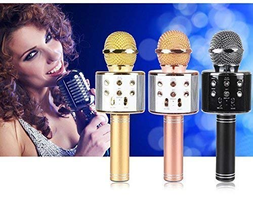 Hk Villa WS-858 Wireless Bluetooth Microphone Recording Condenser Handheld Microphone with Bluetooth Speaker Audio Recording for Cellphone Karaoke Mike All Android and iOS Devices iPhone iPad iPod and All Smartphone , Laptops & Computers