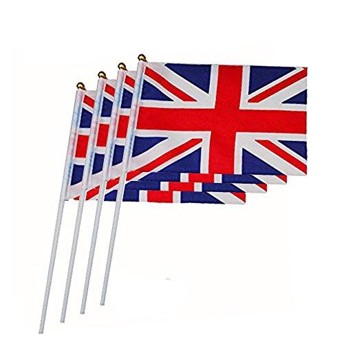 Haobase, 50-er Packung, Großbritannien-Flaggen, in der Hand gehalten, 21x 14cm, Mini-GB-Flaggen an Stock mit runder Oberseite