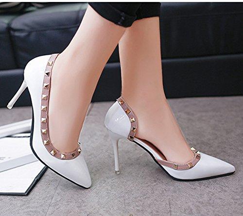 Minetom Estate Scarpe Col Tacco Donna Court Party Shoes Rivetti Punta Aguzza Sexy Bocca Superficiale Sottile Tacchi Alti Pompa Sandali Tacco Alto Bianco