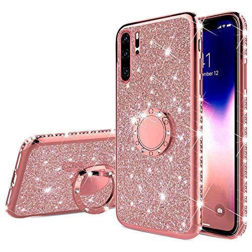 QPOLLY Cover Brillantini Silicone Compatibile con Huawei P30 Pro Bling Glitter Morbido TPU Bumper Custodia con Rotazione a 360 Gradi Diamante Anello Ultra Sottile Antiurto Protettiva Cover,Oro Rosa