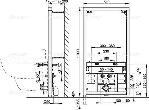 Vorwandmontage-Element für Bidet zur Eckmontage Höhe 1200mm
