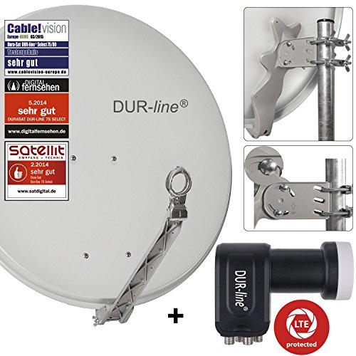 DUR-line 4 Teilnehmer Set - Qualitäts-Alu-Satelliten-Komplettanlage - Select 75/80cm Spiegel/Schüssel Hellgrau + Quad LNB - für 4 Receiver/TV [Neuste Technik, DVB-S2, 4K, 3D]