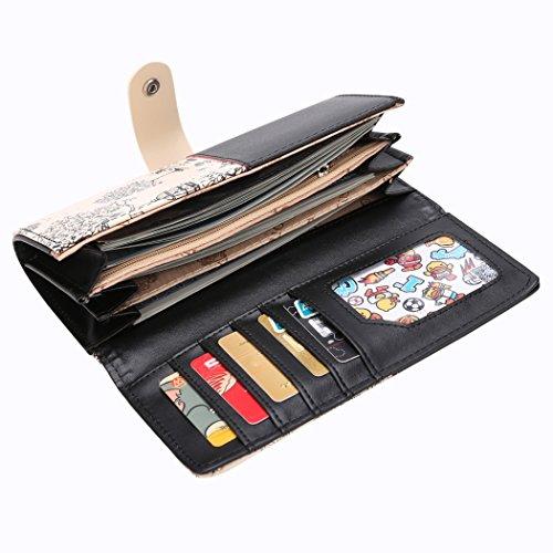 Long Women's Wallet-tutto Ladies Print patchwork pieghevole lungo portafogli portamonete borsa (blu) Nero