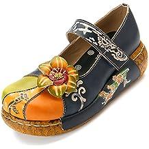 Damen Pantoletten, Sommer Sandalen Leder Pantoffel Vintage Slipper Bequeme Classic Clog Hausschuhe Gracosy