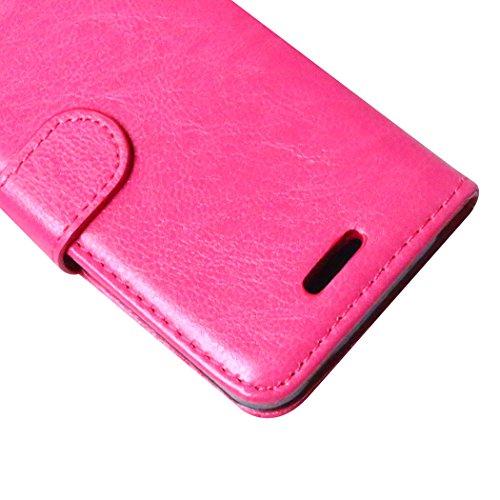 Beiuns pour Apple iPhone 4 4G 4S Étui en Simili cuir Housse Coque - K124 noir K121 rose