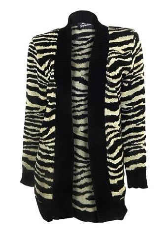 Signature Black/Gold Zebra Stripe Edge to Edge Cardigan Long Sleeve Size14-16