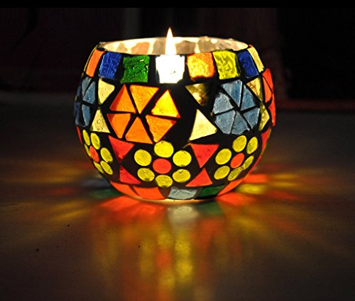 HND00661 Traditional Desginer Mosaic Glass Candle Holder For Dinner Table