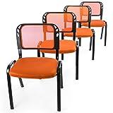Nexos 4er Set Bürostuhl Konferenzstuhl Besucherstuhl orange gepolsterte Sitzfläche stapelbar 52,5 x 45 x 80 cm Stapelstuhl Metallrahmen schwarz