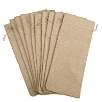 JVSISM 10pcs Jute Wine Bags, 14 x 6 1/4 inches Hessian Wine Bottle Gift Bags with Drawstring