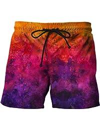 3e37c2c173 Gradiente Rojo 3D de los Hombres Printed Swim Trunks Beach Shorts de Secado  rápido para Surf