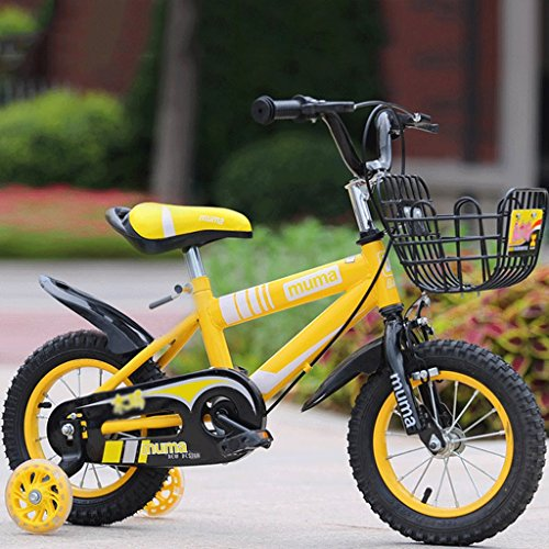 Kinder Fahrrad Junge Kinderwagen Mädchen Kinderwagen Kinder Mountainbike (Flash-Rad-Version) ( Color : Yellow , Size : 24 in )