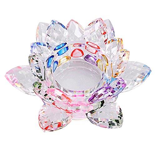BTSKY Kerzenhalter aus Kristall, Lotusblütenform, 11,4 cm, Dekoration für Hochzeiten, Bars, Partys, zu Hause, Bastelzubehör, Kerze nicht im Lieferumfang enthalten, glas, bunt