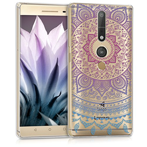 kwmobile Lenovo Phab2 Pro Hülle - Handyhülle für Lenovo Phab2 Pro - Handy Case in Blau Pink Transparent