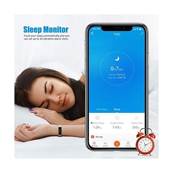 TOOBUR Reloj Inteligente para Mujer Hombre Niños, Pulsera Actividad con Cuenta Pasos y Calorias, Podómetro Smartwatch Impermeable IP67 con Monitor de Sueño y Despertador Vibrador 4