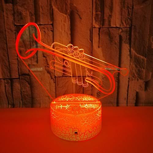 3d Nachtlicht 3D-Nachtlicht Trompete bunte 3D Lampe Tier Geschenk benutzerdefinierte 3D kleine Tischlampe Touch Fernbedienung schwarz Basis