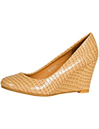 386d24b55b12 ByPublicDemand L2A Womens Low Mid Heel Wedge Court Shoes