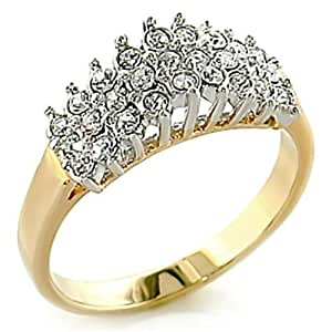 Ah! Jewellery. Cluster Outstanding Quality Flawless Lab Diamonds Ring. Gold Electroplated. Very sparkly. 2.70gr.