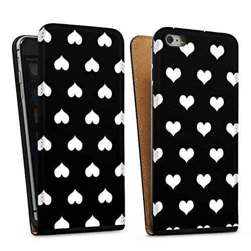 Apple iPhone 5s Housse Étui Protection Coque Polka c½urs Motif Motif Sac Downflip noir