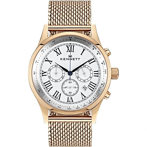 Mens Kennett Savro Gold White Milanese Chronograph Watch WSAVRGWHMIL