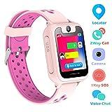 ENFANTS Smart Watch, LBS/GPS Tracker pour Filles et Garçons ou Cadeaux de Noël et D'anniversaire SIM appels anti-perte SOS pour iOS Android (Rosa)