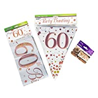 Neon Candy 60th Birthday Decoration Kit Banner Bunting Confetti Rose Gold Him Her Men Women