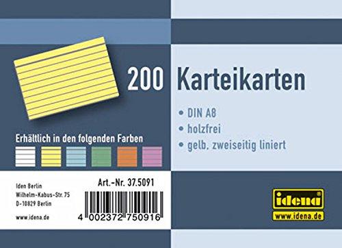 Idena 375091 - Karteikarten DIN A8, liniert, 200 Stück, 180 g/m², gelb