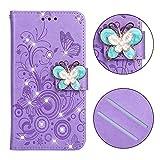 BONROY - Huawei Mate 20 Lite Lederhülle Premium Echtleder Standhülle/Cover/Brieftasche-(XC-Butterfly Strass Purple)