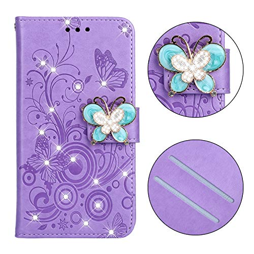 Carols Coque Nokia 3.1, Motif de Fleurs de Papillon en Relief Motif Etui Housse Cuir PU Portefeuille Flip Case Cover - Pourpre-05