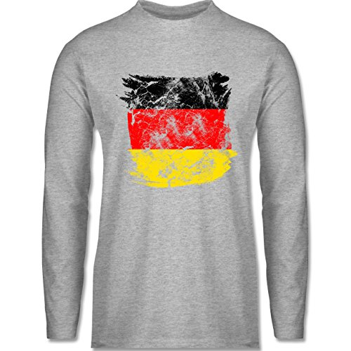 Shirtracer FußballWM 2018 Russland Deutschlandflagge Pinsel Herren  Langarmshirt Grau Meliert