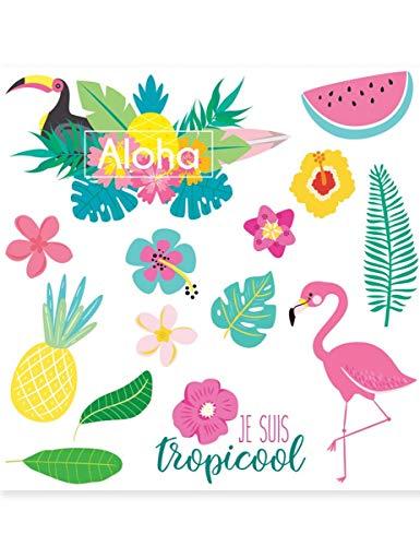 COOLMP - Tatuaggi temporanei Tropicool 80 mm - Taglia Unica - Trucco di Festa, Capelli, Pelle, Labbra, Occhi, Carnevale, Serata in Maschera, Compleanno